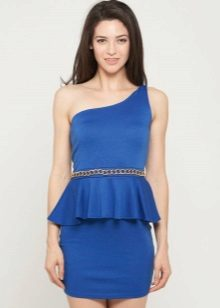 Blue dress with basky, with shoulder straps on one shoulder
