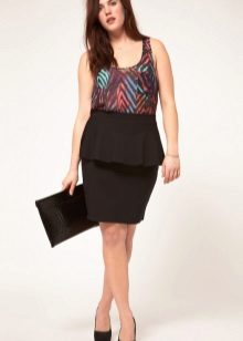 Two-tone dress with basky for women with bulging