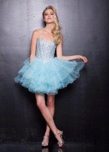 Kort blå klänning med korsett
