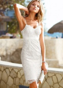 White lace dress with a corset