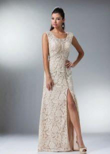 Lace Milk Dress med korsett och rhinestones