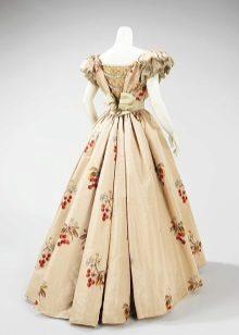 Vintage beige dress na may korset