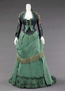 Vintage green dress na may corset