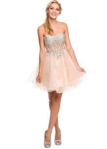 Persika kort klänning med korsett