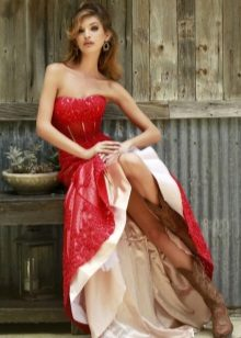 Red long dress with a corset