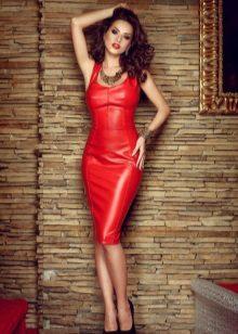 Röd sexig klänning med korsett