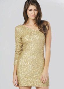 Rövid, elegáns arany ruha, egy ujjú