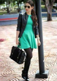 Jaket kulit untuk pakaian dengan skirt separuh