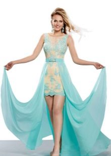 Short beige-turquoise dress with a train