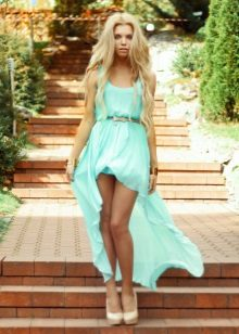 Short turquoise dress with a train