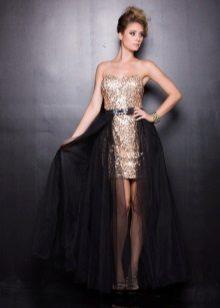 Kort gull-svart kjole med tog