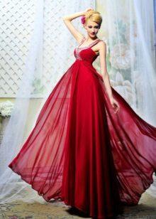 Burgund kjole med tog