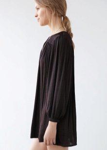 Warm zwarte jurk A-lijn