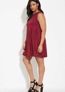 Maroon dress trapeze for full