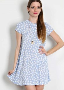 Summer white dress-a-line with polka dots