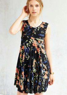 Zomer zwarte A-lijn jurk