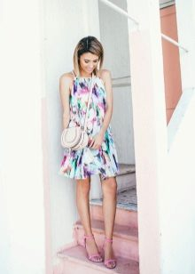 Summer white A-line dress with abstract print