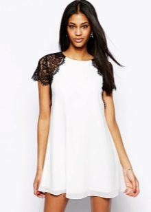 White A-Line Dress with Black Lace Sleeves