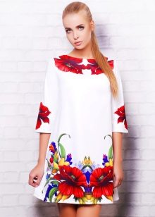 A-line 3/4 sleeve dress with flowers