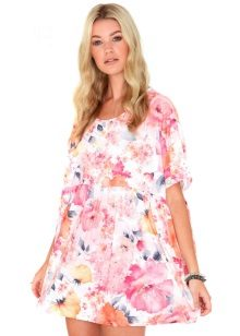 Summer white trapeze dress with floral print