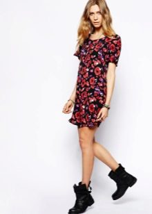 Summer black trapeze dress with floral print