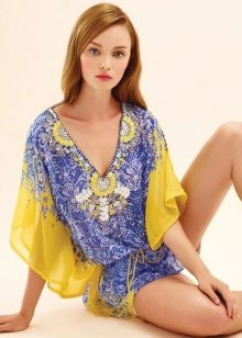 Dress tunic blue and yellow