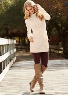 Winter knitted tunic dress