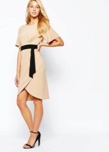 Beige dress with black strap