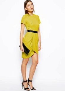 Mustard tulip dress with black strap