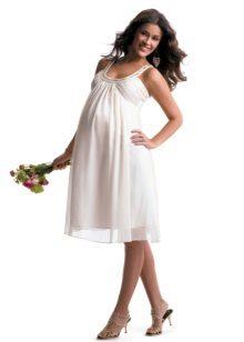 Лятна бяла рокля за бременни жени
