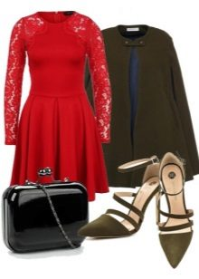 Dress with flared skirt and accessories for the figure of the type of an inverted triangle