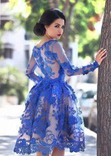 Sininen pitsi pitkähihainen mekko