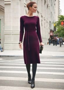 Borgonha Medium Wool Long Sleeve Dress