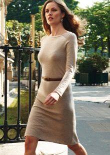 Beige villa pitkähihainen mekko, jossa hihna