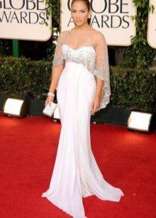Hvit lang kjole med høy midje