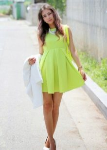 Yellow flared dress with a high waist