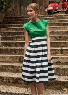 Two-tone dress with a high waist
