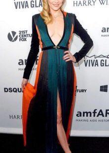 Color long dress with a high waist