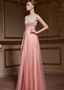 Dress with high waist peach