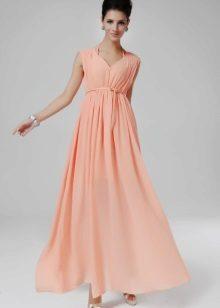 Kjole med høy midje ferskenfarge