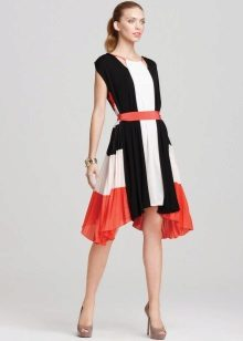 Tricolor Pleated Dress