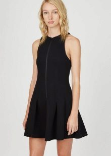 Black Pleated Sleeveless Zip-Front Dress