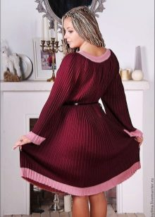 Warm Pleated Wool Dress