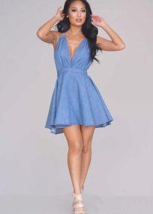 Kort blå flared kjole