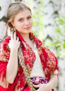 Russian dress, Russian shawl, a girl with a scythe