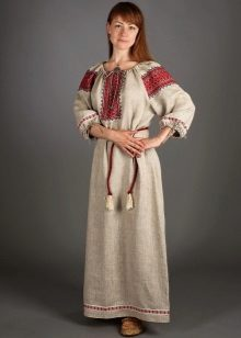 Russian linen sundress in ethnic style