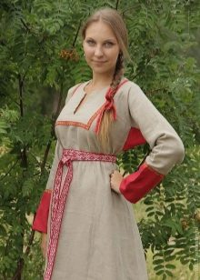 Russian modern linen dress with embroidery and decoration