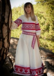 Russian sundress in ethnic style with patterns