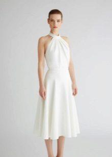 Valkoinen A-siluetti neulottu mekko