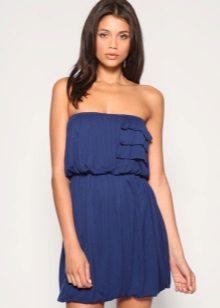 Neulottu mekko on avoin sininen